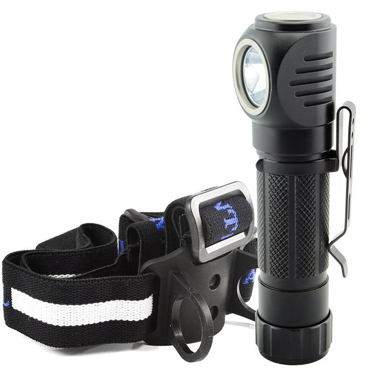 Lumintrail Angle Head 1050 Lumen LED Multi Purpose Flashlight features Headlamp Strap, Pocket Clip, Magnetic Tail, 5 Modes including Strobe * Visit the image link more details.