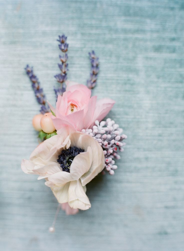 Lavender and Floral Boutonniere by Bo Boutique Flowers. Photography by http://buffydekmarblog.com
