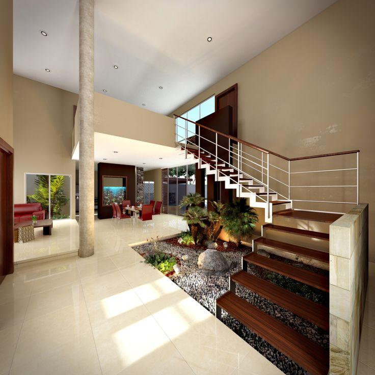 vstibulo a doble altura escaleras con peldaos de madera y barandal de aluminio jardin
