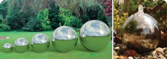 """Stowasis have a wide range of stainless steel spheres as water features from 300 - 2000mm diameter. The water flows up through a pipe in the centre and ripples evenly down over the polished surface.    The water flows over the many reflections shown in the curved polished surface of the Sphere water feature and looks very attractive as a single sphere or placed together with different sized spheres."""