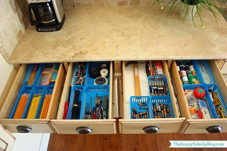 Sunny Side Up: Organized laundry room (drawers for school supplies, tools, batteries, and sewing supplies) - LOTS of great organizing ideas in this post!