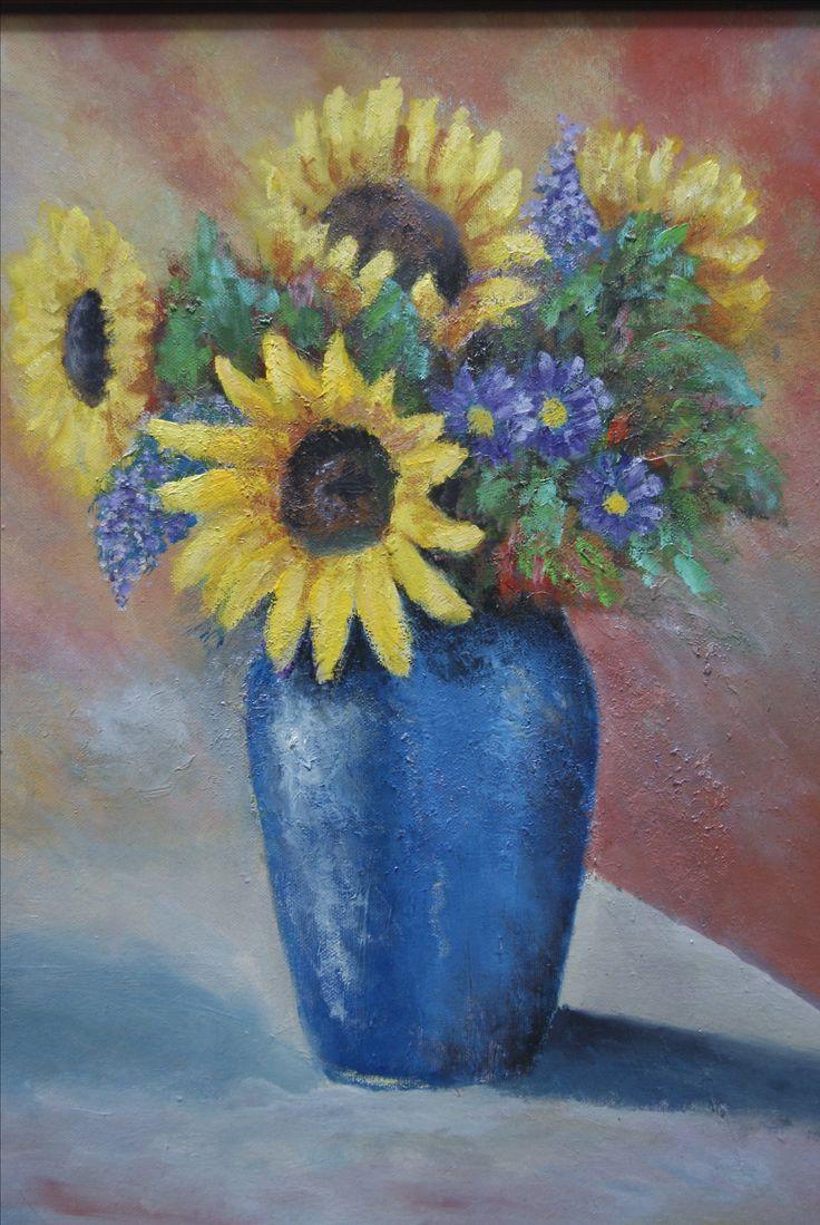 slnečnice olejomalba - sunflowers oil painting