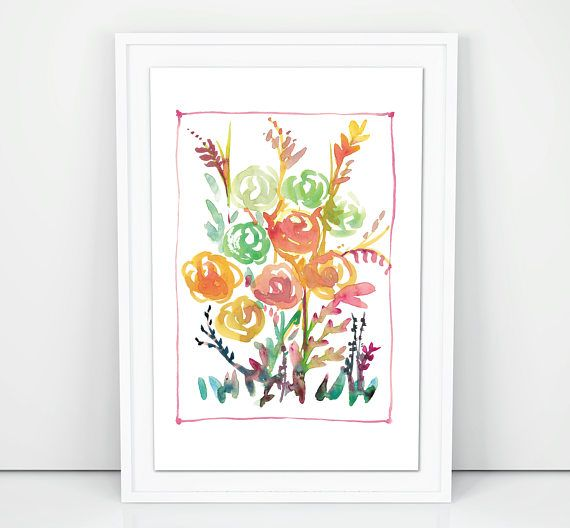 Nursery FlowersPrintable Watercolour Art Digital File