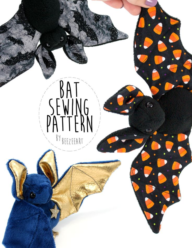 "beezeeart: "" The bat sewing pattern is now available :) (And just as a note, most of the fabric for my bats came from Joann Fabric if you'd like to purchase something similar) You can buy this pattern..."