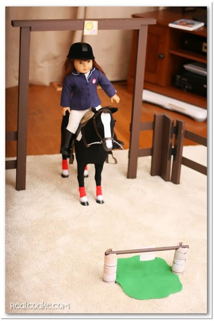 American Girl Doll Horse Show with American Girl crafts to make show jumping jumps for the doll