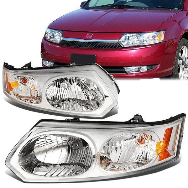 03 07 Saturn Ion Sedan Headlights Chrome Housing Amber Corner Headlights Sedan Saturn