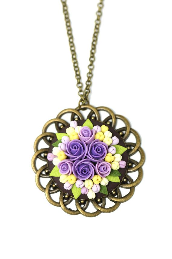 Best 25 purple pendants ideas on pinterest purple jewelry gift for her polymer clay jewelry fashion jewelry polymer clay pendant necklace floral pendant necklace clay flowers purple yellow pendant mozeypictures Gallery