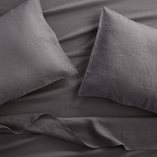 Lino II Dark Grey Linen Sheets and Pillow Cases | Crate and Barrel