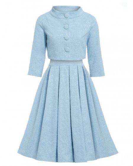 'Marianne' Light Blue Swing Dress and Jacket Twin Set