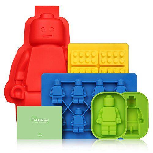 freshlove 5Set Silicone Moule à gâteau ou gelée moule en silicone et bac à glaçons ou bonbons, Gelée Moule et chocolats en silicone pour les amateurs de Lego