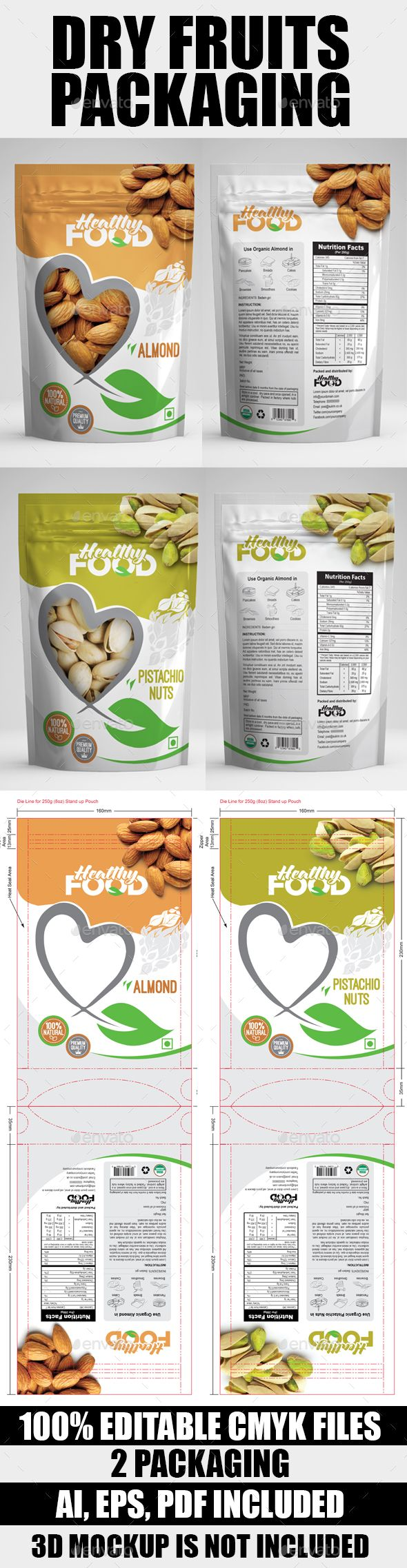 Dry Fuits Bag Packaging Template AI Illustrator. Download here: http://graphicriver.net/item/dry-fuits-bag-packaging/16828662?ref=ksioks