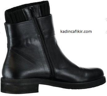 Çorap bot şeklinde siyah sade uzun fermuarlı çorap içli düz topuk Derimod kadın botu | Kadınca Fikir - Kadınca Fikir