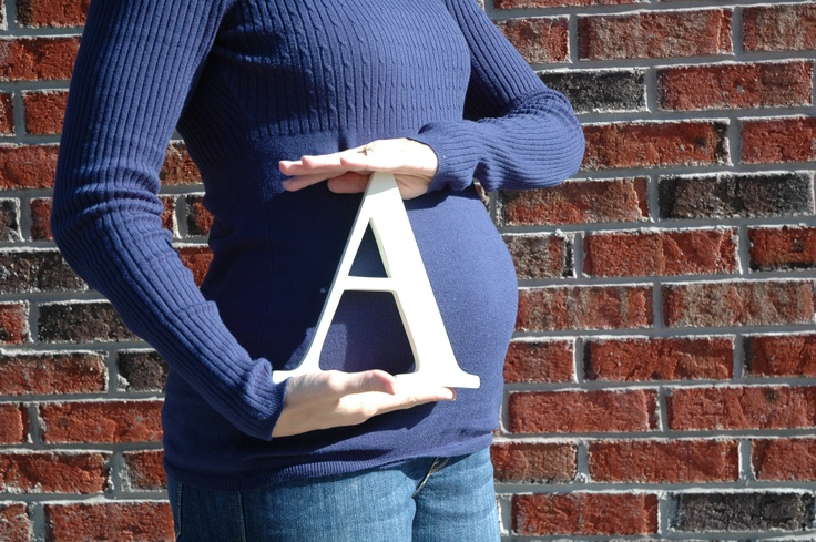 "Love baby belly photos and ""initials"" from Pottery Barn Kids"