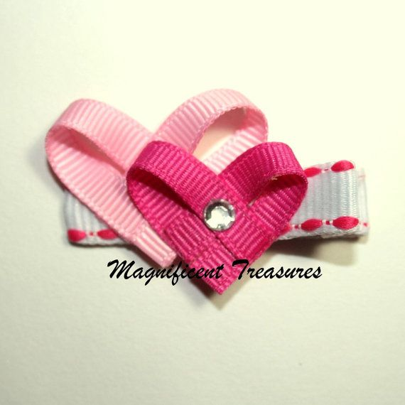 Valentine Double Pink Heart Hair Clip by Magnificence on Etsy, $3.00
