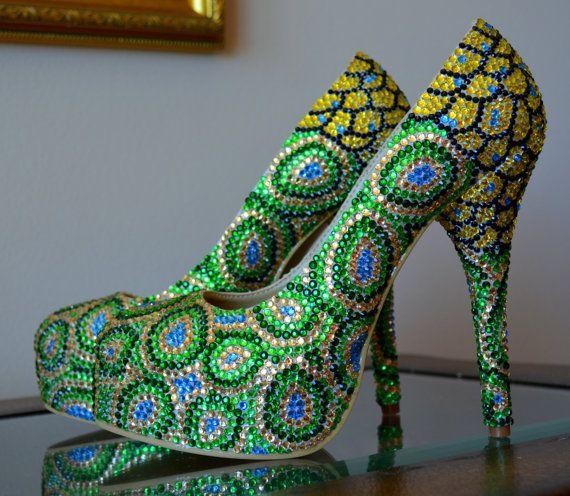 Unique Peacock, Handmade Bead Shoe Design