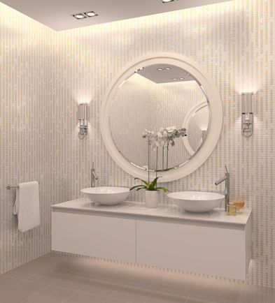 multiple lighting options for a windowless bathroom