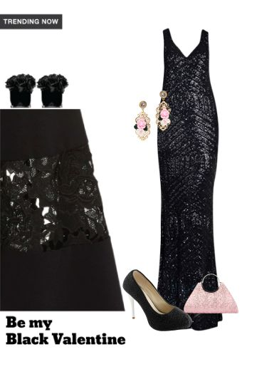 'be my valenitne' by me on Limeroad featuring Black Pumps, Solids Black Dresses with Pink Clutches
