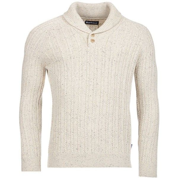 Barbour Men's Shawl-Collar Sweater ($179) ❤ liked on Polyvore featuring men's fashion, men's clothing, men's sweaters, neutal, mens sweaters, mens cable knit sweater, mens cable sweater, mens cable knit shawl collar sweater and mens shawl collar sweater