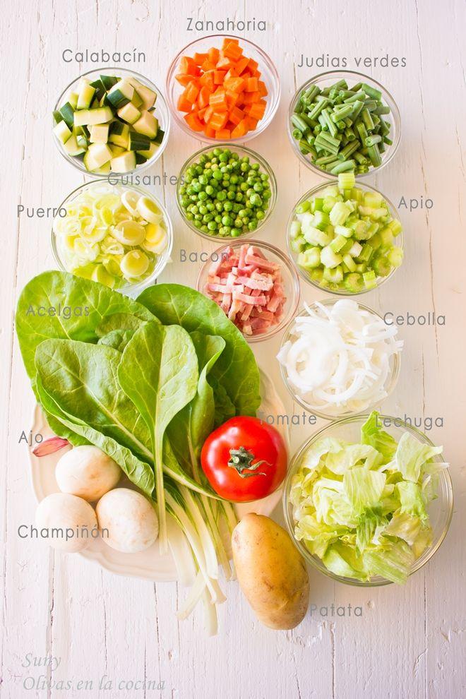 Aquí están las verduras utilizadas para hacer la Sopa Minestrone.  http://rositaysunyolivasenlacocina.blogspot.com.es/2013/10/sopa-minestrone.html