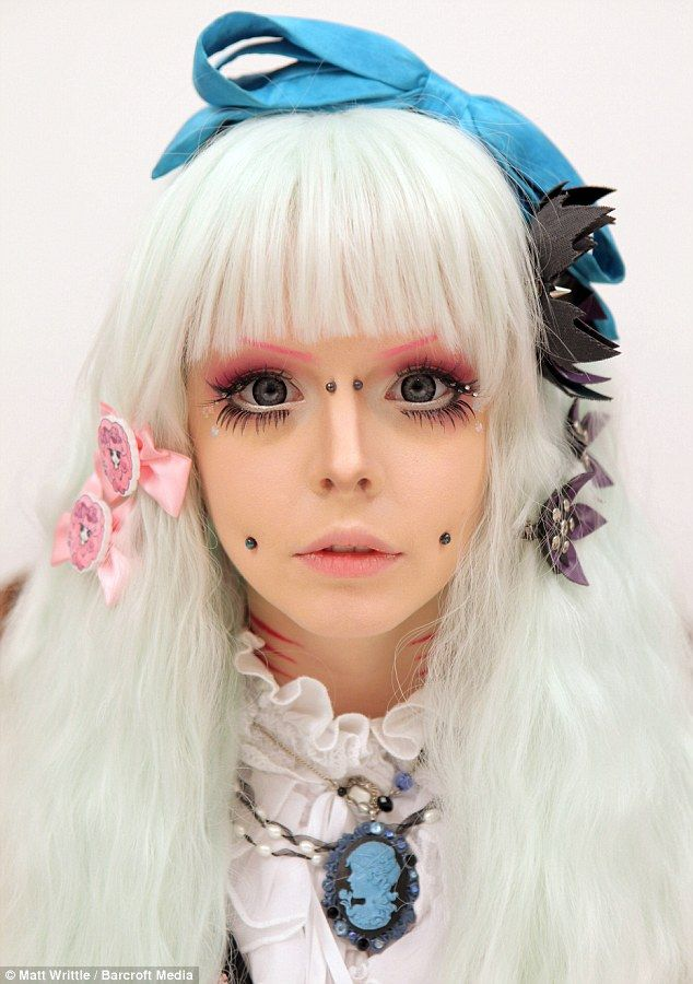 Katie, 20, spends £200 a month on make-up, and three hours every day to transform herself into a Japanese cartoon character
