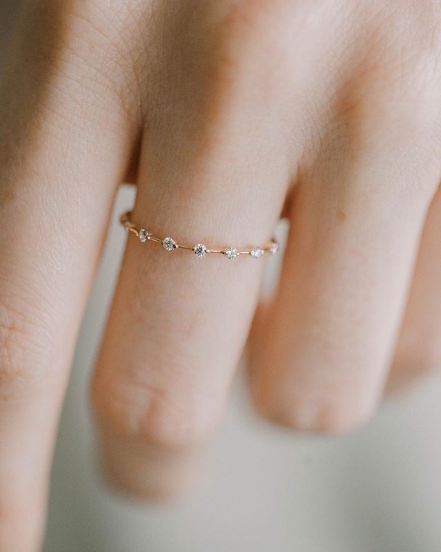 Petite Diamond Distance Band: This delicate ring is again in 14k yellow