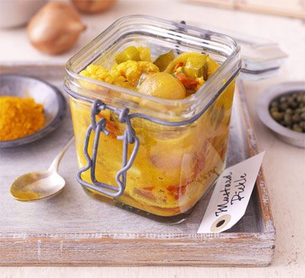 Like your piccalilli chunky? James Martin's version has whole baby onions, cauliflower pieces and tomatoes
