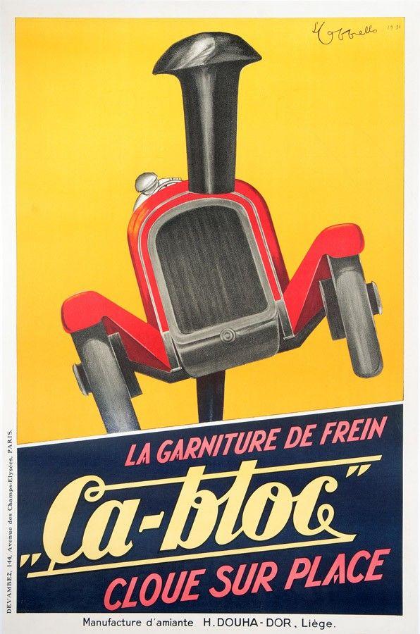 """automobile - La garniture de frein """"Ca-bloc"""" cloue sur place / Manufacture d'amiante H. Douha-Dor, Liège - 1931 - (illustration de Leonetto Cappiello) -"""