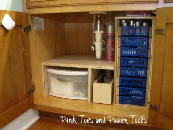 Nicely organized for bathroom cabinet.  Full directions athttp://pregnantpower.blogspot.com/2010/09/cheap-easy-diy-bathroom-cabinet-drawers.html