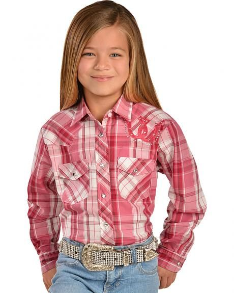 bb2f5f99 Girls Western Shirts | Wrangler Girls' Pink Plaid Horseshoe Western Shirt -  Sheplers