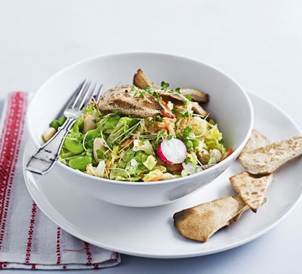 This rainbow salad makes a refreshing vegetarian main packed with cannellini beans, broad beans, carrots and radishes