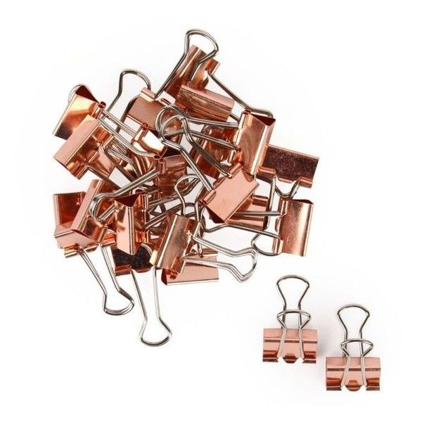 Rose gold binder clips pack of 24 ❤ liked on Polyvore featuring home, home decor, office accessories and modern office accessories                                                                                                                                                                                 More