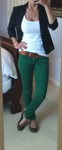 love the colored jeans with a white tank and blazer/cardigan. I have plenty of denim but could used more colored pants :)