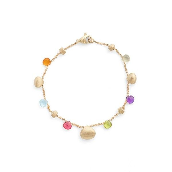 Women's Marco Bicego Paradise Semiprecious Stone Bracelet ($990) ❤ liked on Polyvore featuring jewelry, bracelets, yellow gold, semi precious stone jewellery, 18k jewelry, 18 karat gold jewelry, chain jewelry and semi precious jewelry