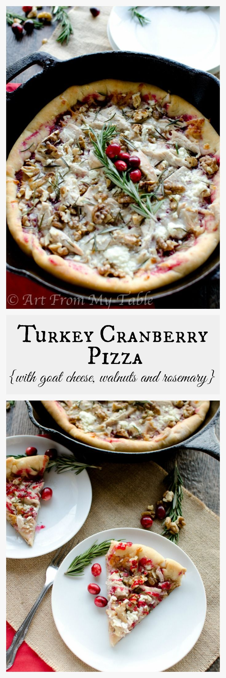 The only thing better than the Thanksgiving meal is the leftovers.  Try changing up the usual leftovers for this fabulous Turkey Cranberry Pizza with goat cheese, walnuts and fresh rosemary. Perfectly festive for Christmas too!