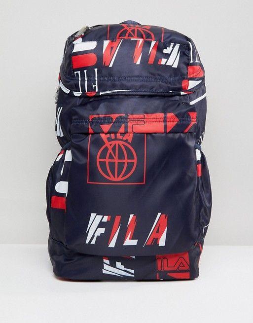 8777b14e56 Fila Rouke All Over Logo Print Backpack In Navy