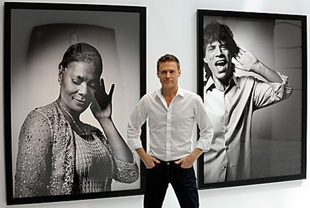 Bryan Adams with his photographs of celebrities in the HEAR THE WORLD campaign #cochlearimplant and @Advanced Bionics