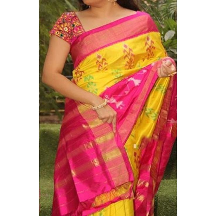 Yellow and Pink Pure Ikkat silk saree with matching blouse