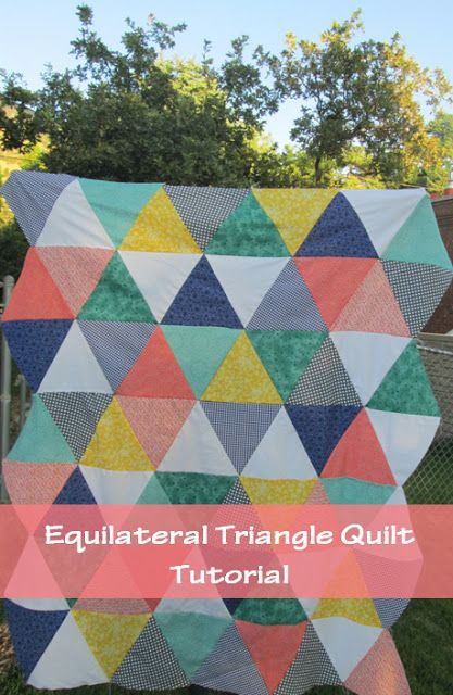 "Equilateral Triangle Quilt. No template required. Finished quilt is a crib size, 40"" by 60""."