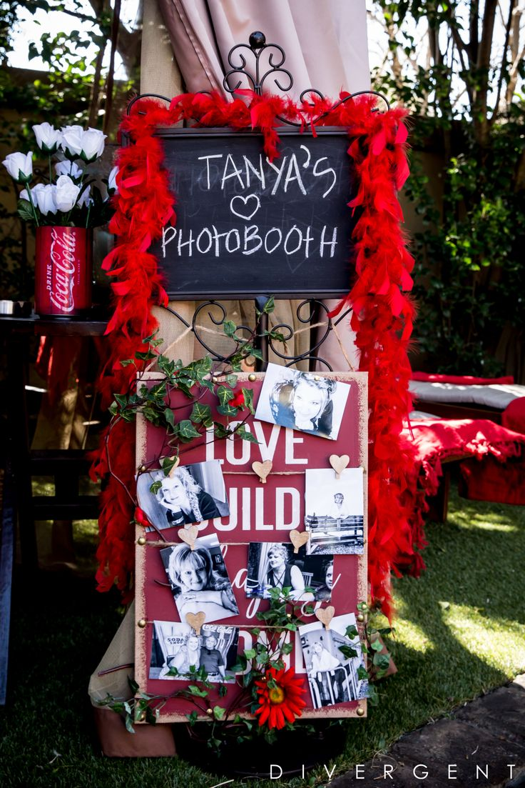 Red, Black and White themed garden birthday party photo booth sign with photo memories