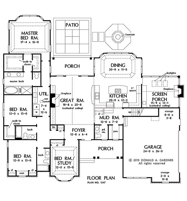 House with a single dining space: First Floor Plan of The Ramsey - House Plan Design 1347