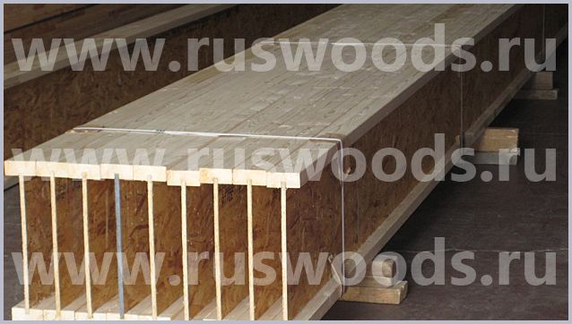Деревянные балки перекрытия межэтажные Ruswoods в доме, цена. Двутавровые балки перекрытий для стропил и обвязки для пола и потолка в Москве, расчет, размеры, монтаж, прайс и цена.