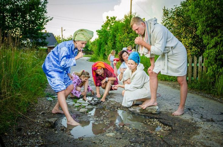 From BoredPanda--Lithuanian citizens stage photo shoot near Kaunas to call attention to the potholes in local roads, captured by professional photographers Arturas Artiusenka and Eurika Balciute.