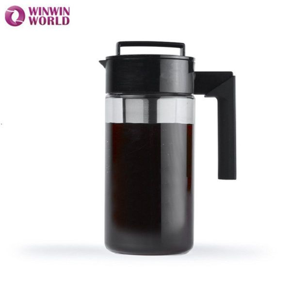 1300ml Ice Cold Coffee Brewer Maker Induser Black Pot Cold Brew Coffee Maker Tea Pot With Fruit Infusion Filter