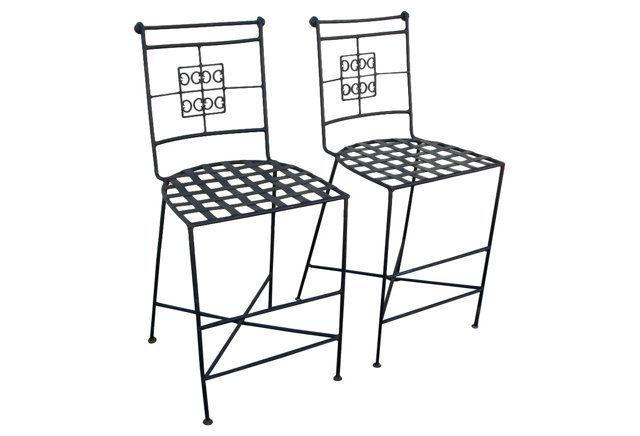 Midcentury  Iron Counterstools, Pair