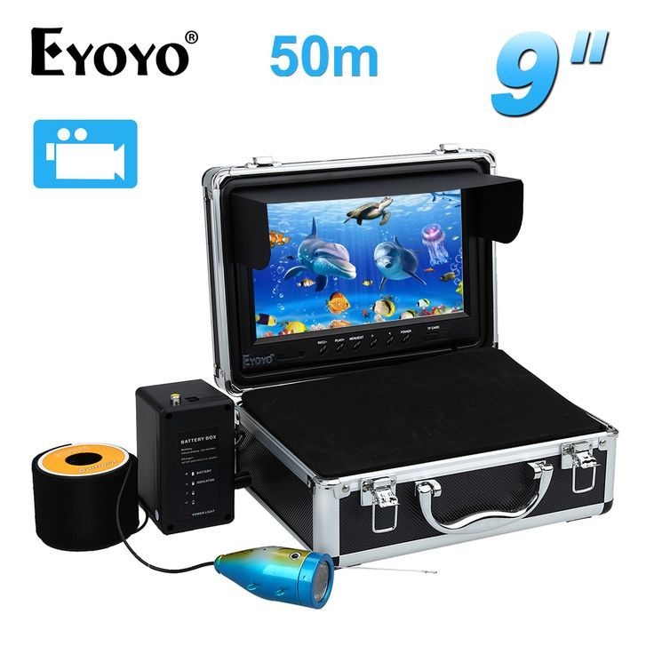"EYOYO 50M Fish Finder  9"" LCD 8GB Underwater Video Camera w/DVR Function 12pcs White LED Adjustable Free Sunvisor"