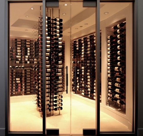Storage, Beautiful Modern Contemporary Wine Room In Minimalist Design With Builtin Winr Rack And Wine Shelves As A Centerpieces Also Floor To Ceiling Glass Door Decorating ~ Amazing Wine Cellar Decorating Ideas Enhancing the Storage with Antique Impression