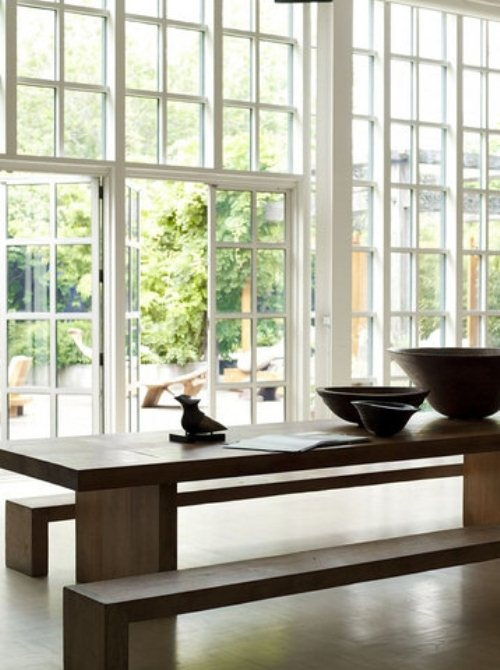 ~ Wabi Sabi Style ... hardwood table + whites + french windows + earthenware love this!!!