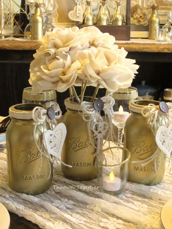 Gold & Ivory Wedding Centerpiece Candle Holder by ThrownTogether