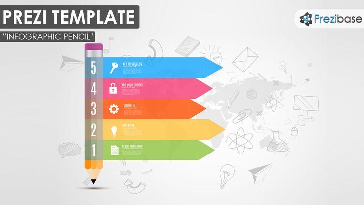 Pencil infographic creative school and education colorful prezi template