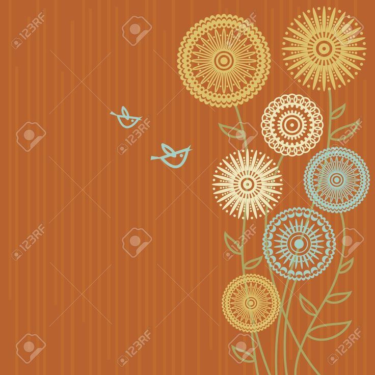 Floral Background Con Gli Uccelli Del Fumetto Clipart Royalty-free, Vettori E Illustrator Stock. Pic 15858432.